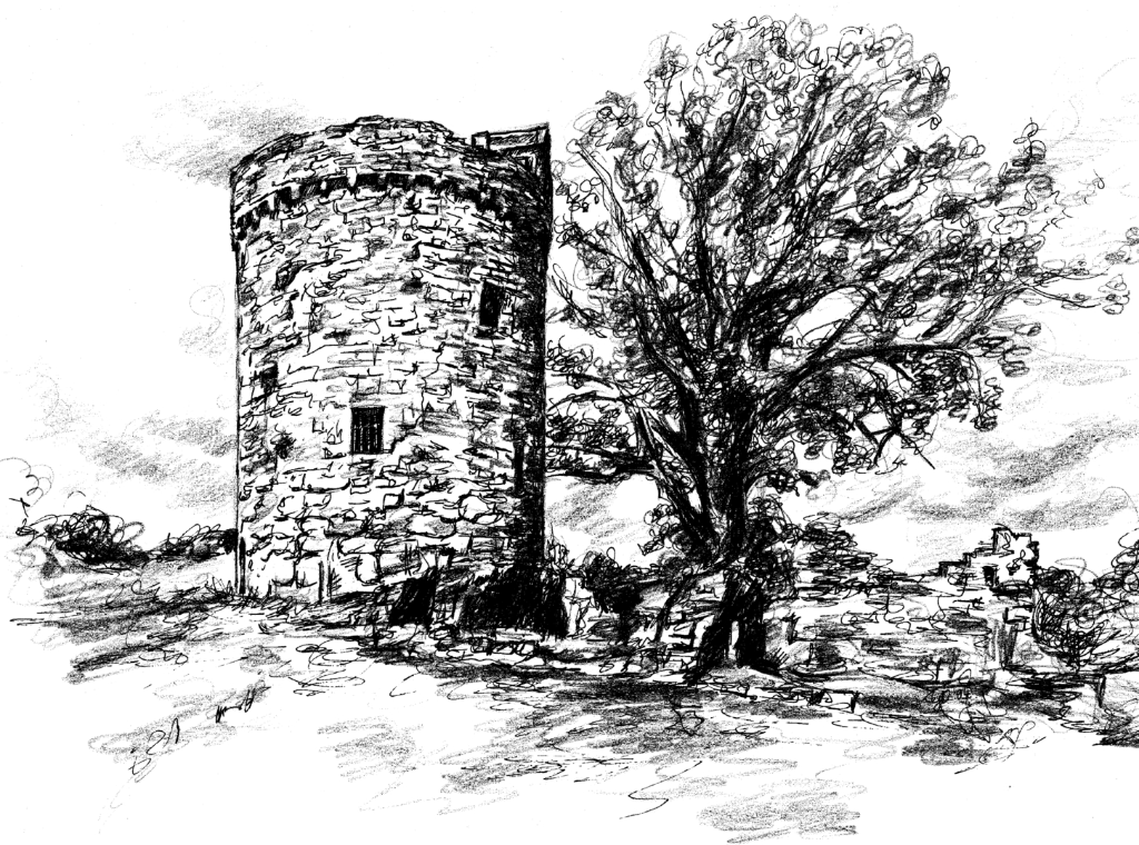 Orchardton Tower is an unique freestanding round tower house in a pretty peaceful location, long held by the Maxwells and near Dalbeattie in Dumfries and Galloway in southwest Scotland.