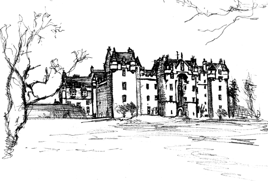 Fyvie Castle, a large and sumptuous old castle, held successively by the Lindsays, Prestons, Meldrums, Setons, Gordons and then Leiths, with an impressive interior, set in beautiful gardens and landscaped policies, near Rothirnorman in Aberdeeenshire in t