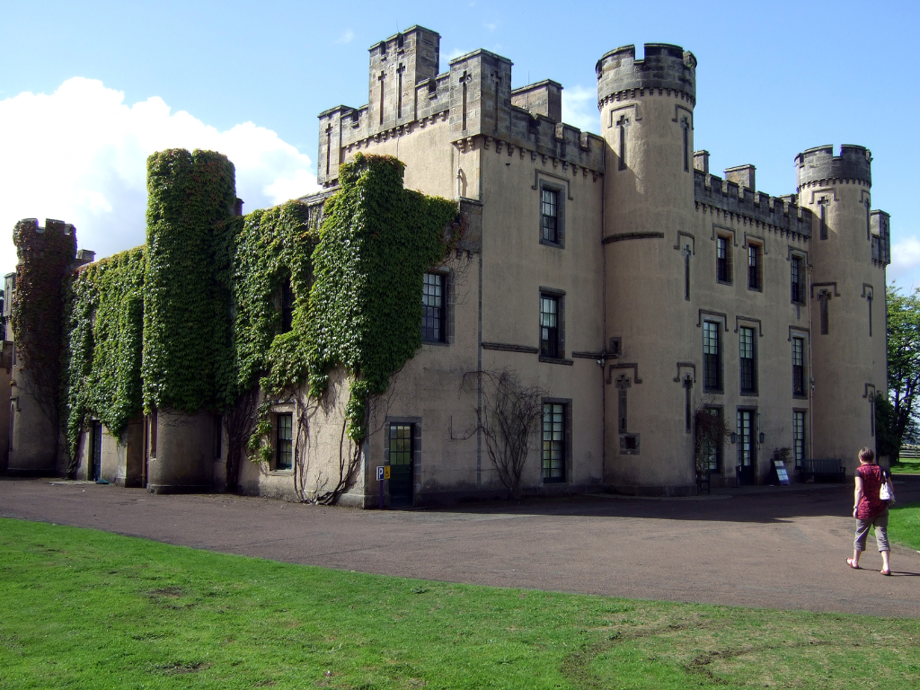 The Binns or House of the Binns, a fine castellated mansion with an interesting interior in landscaped parkland, long held by the Dalziels or Dayells and some miles from Linlithgow in West Lothian in central Scotland.