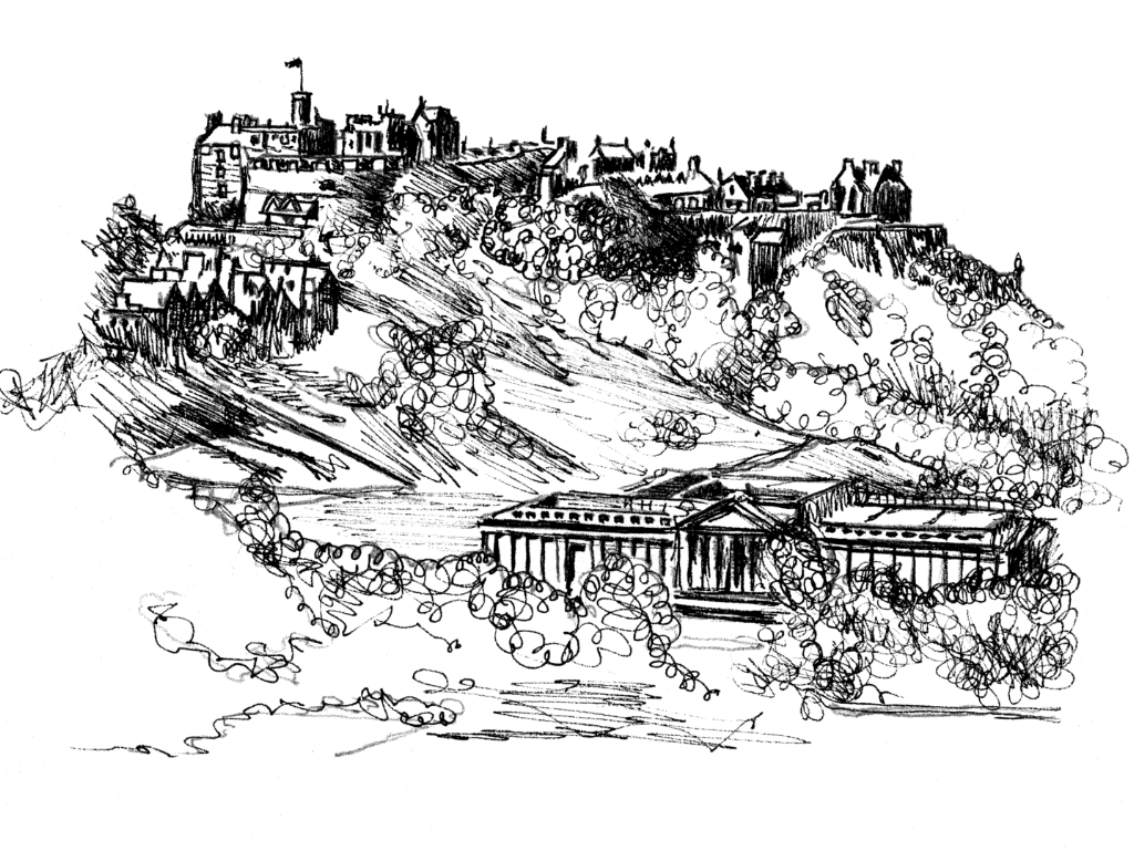 Drawing of Edinburgh Castle, standing on a rock in the middle of Scotland's capital city, a magnificent fortress and palace, used by the monarchs of Scotland (such as St Margaret and Mary Queen of Scots) as one of the principal strongholds of the kingdom