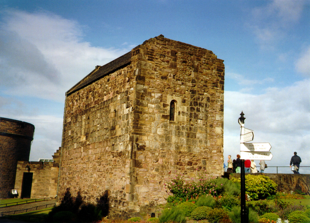 St Margaret's Chapel in Edinburgh Castle, standing on a rock in the middle of Scotland's capital city, a magnificent fortress and palace, used by the monarchs of Scotland (such as St Margaret and Mary Queen of Scots) as one of the principal strongholds of