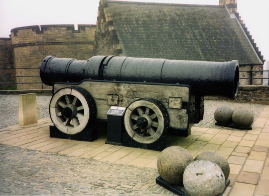 Mons Meg. a massive cannon, at Edinburgh Castle, standing on a rock in the middle of Scotland's capital city, a magnificent fortress and palace, used by the monarchs of Scotland (such as St Margaret and Mary Queen of Scots) as one of the principal strongh