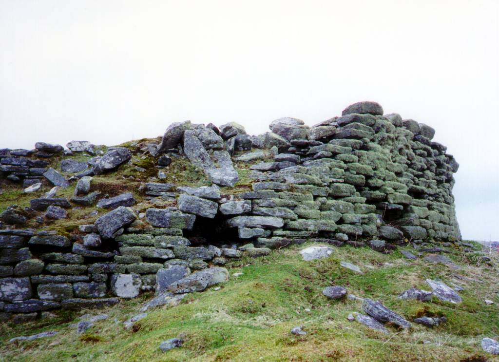 Dun an Sticer, an impressive ruinous dun and stronghold, defended by the loch and with causeways out to the island, associated with the MacDonalds and near Newtonferry to the north of North Uist in the Outer Hebrides.