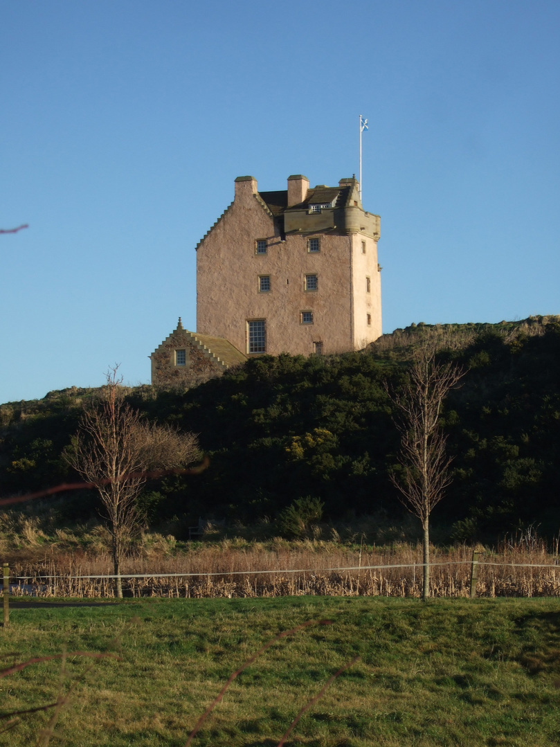 Fenton Tower, an imposing old restored tower house in a pretty spot on a hill, held by the Whitelaws, Carmichaels, Erskines and Maxwells, near Kingston and North Berwick in East Lothian in central Scotland.