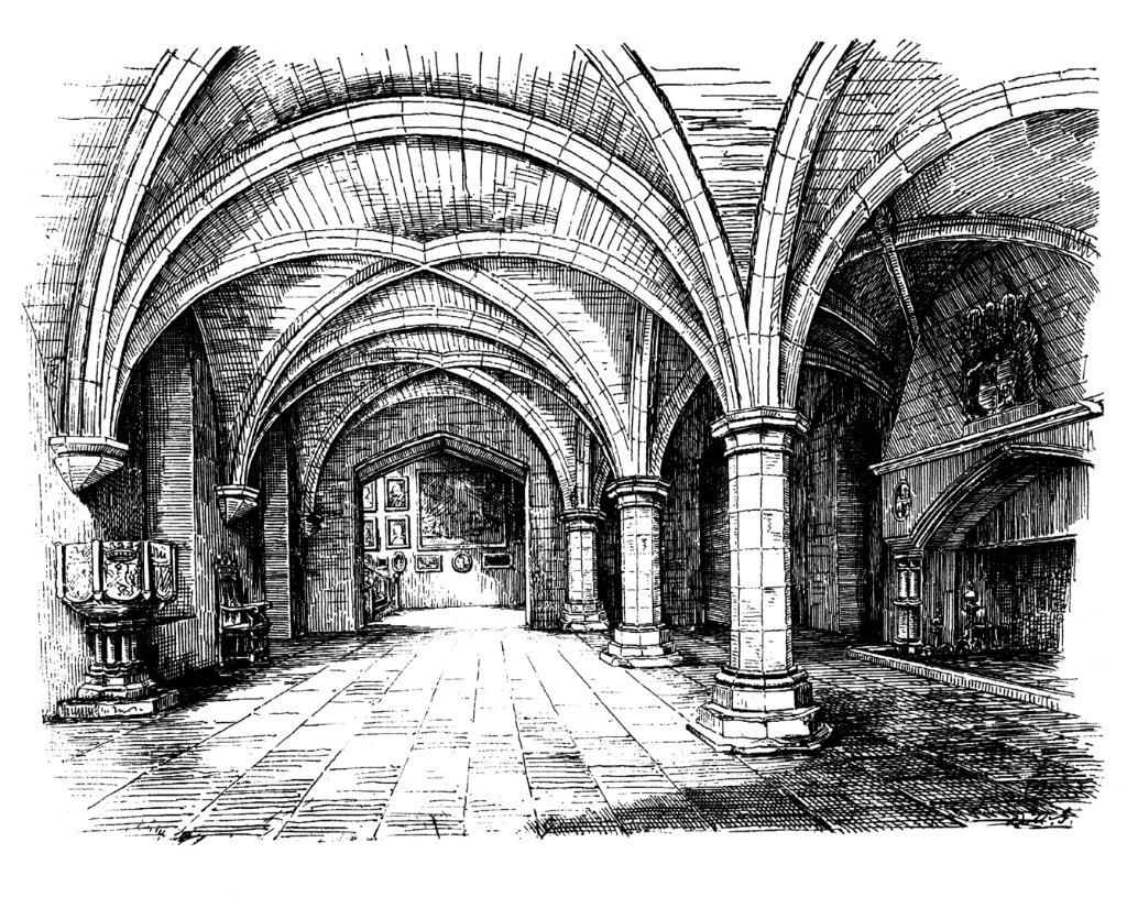 Undercroft of Newbattle Abbey, a large and impressive mansion, remodelled out of part of the medieval abbey, long held by the Kerr Marquises of Lothian but now an adult education college, set in fine grounds near Dalkeith in Midlothian in central Scotland