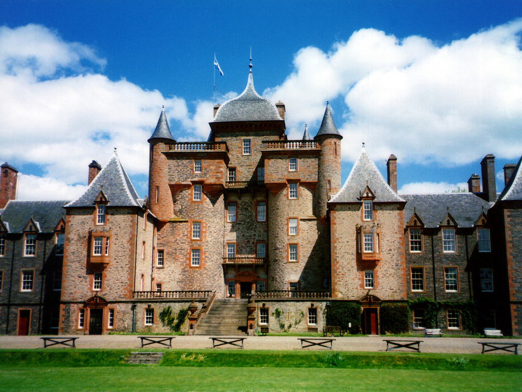 Thirlestane Castle, a fabulous old castle and mansion with many sumptuous chambers, long held by the powerful Maitlands of Lauderdale, and in lovely gardens and grounds near Lauder in the Borders in southern Scotland.