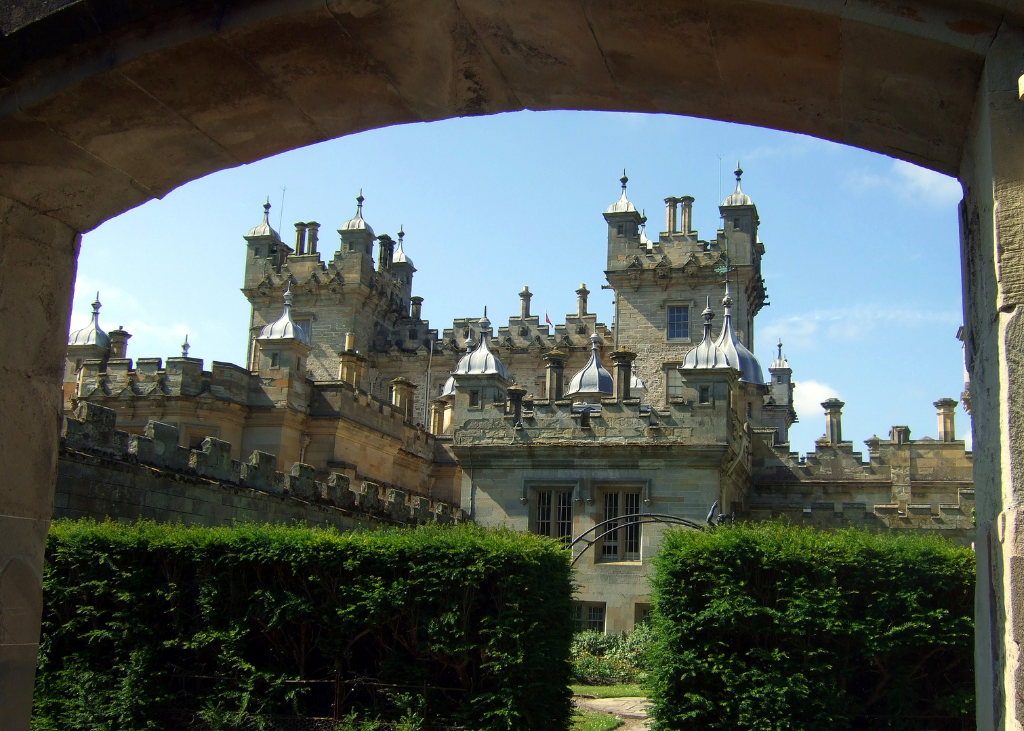 Floors Castle, the massive and magnificent mansion of the Kerr Dukes of Roxburghe, with a rich and magnificent interior, set in rolling grounds with a colourful walled garden, near Kelso in the Broders in southern Scotland.
