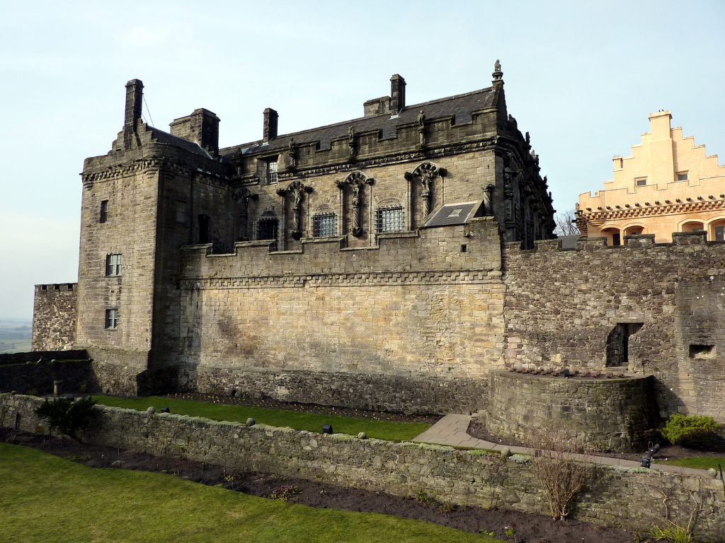 Stirling Castle, a magnificent royal stronghold and palace of the monarchs of Scotland, with the sumptuous palace of James V, great hall, chapel royal, king's old buildings, old kitchens and much else, above the historic burgh