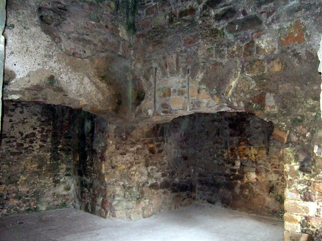 Massive kitchen fireplaces of Dirleton Castle, a magnificent medieval ruined castle, near North Berwick in East Lothian