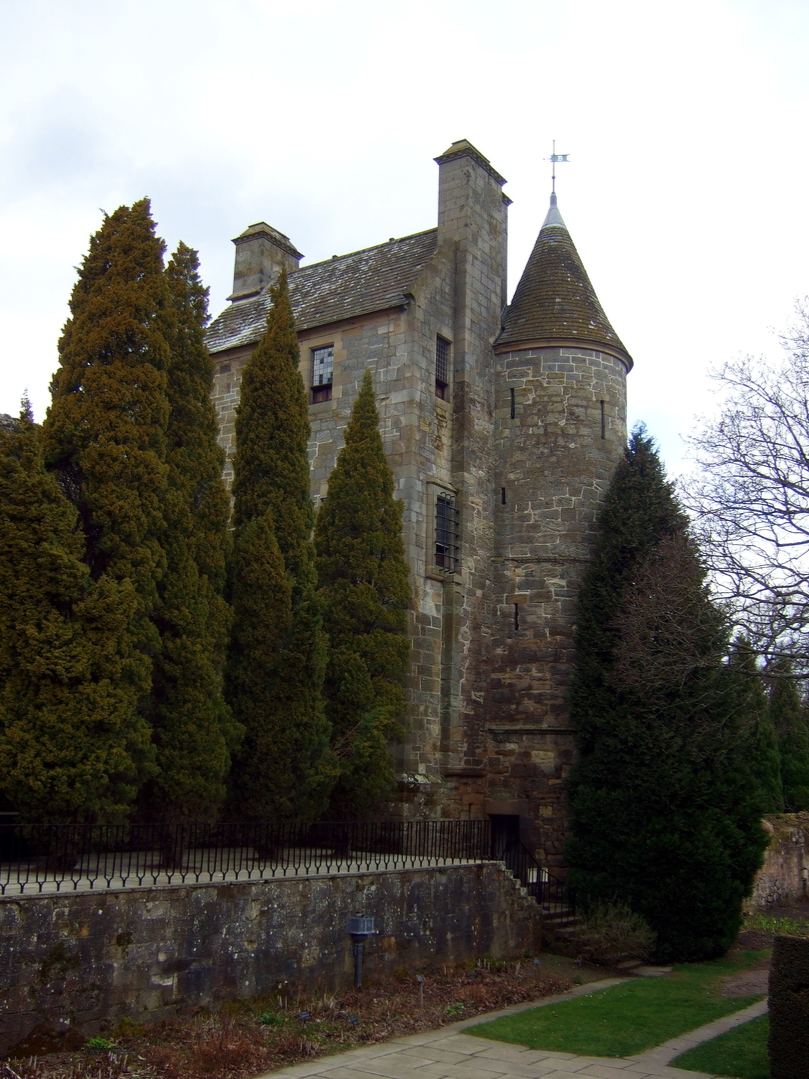 Falkland Palace, a impressive partly ruinous royal residence of the monarchs of Scotland, including James V and Mary Queen of Scots, with some excellent interiors, beautiful gardens and grounds and a real tennis court, in Falkland village, some miles from