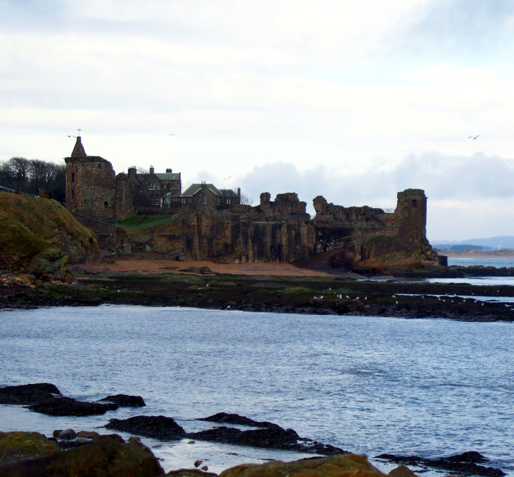 St Andrews Castle, a very ruinous old stronghold of the Bishops of St Andrews and scene of the infamous murder of Cardinal David Beaton, in an attractive spot by the sea in the scenic and historic old university town of St Andrews in Fife in Scotland.