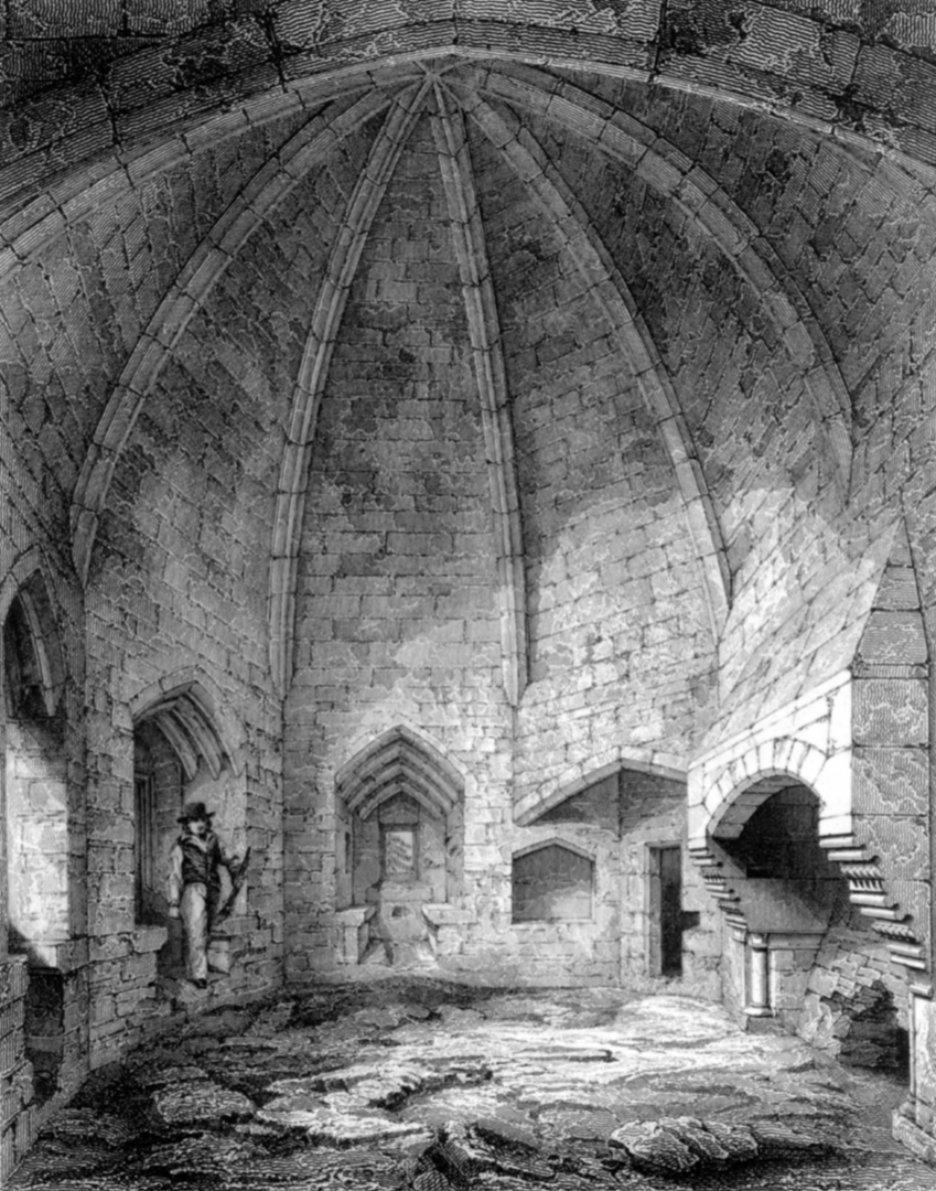 Lord's Hall of Dirleton Castle, a magnificent medieval vaulted chamber in the main round tower. of the magnificent medieval ruined castle, near North Berwick, in East Lothian