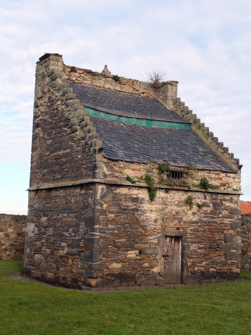 Doocot (dovecot) of Preston Tower, a tall, impressive and grim old tower house, long held by the Hamiltons and in fine gardens in Prestonpans in East Lothian in eastern Scotland.