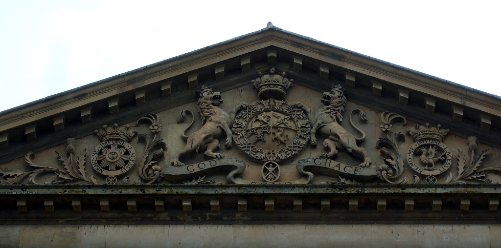 Pediment with heraldic panel, Dumfries House, a magnificent and well-preserved Adam mansion with a sumptuous interior in landscaped grounds, held by the Crichton-Stuart Earls of Dumfries and Marquesses of Bute and some miles from Cumnock in Ayrshire in so