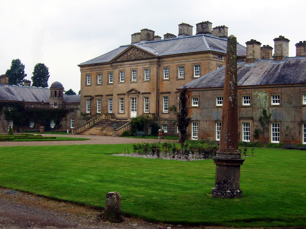 Dumfries House, a magnificent and well-preserved Adam mansion with a sumptuous interior in landscaped grounds, held by the Crichton-Stuart Earls of Dumfries and Marquesses of Bute and some miles from Cumnock in Ayrshire in southwest Scotland.