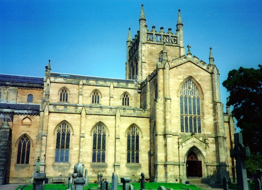 Dunfermline Palace and Abbey (Abbey Church, modern parish church) consists of the now ruinous royal palace and domestic buildings of the adjacent abbey, as well as the impressive church nave, in the heritage quarter of the burgh of Dunfermline in Fife