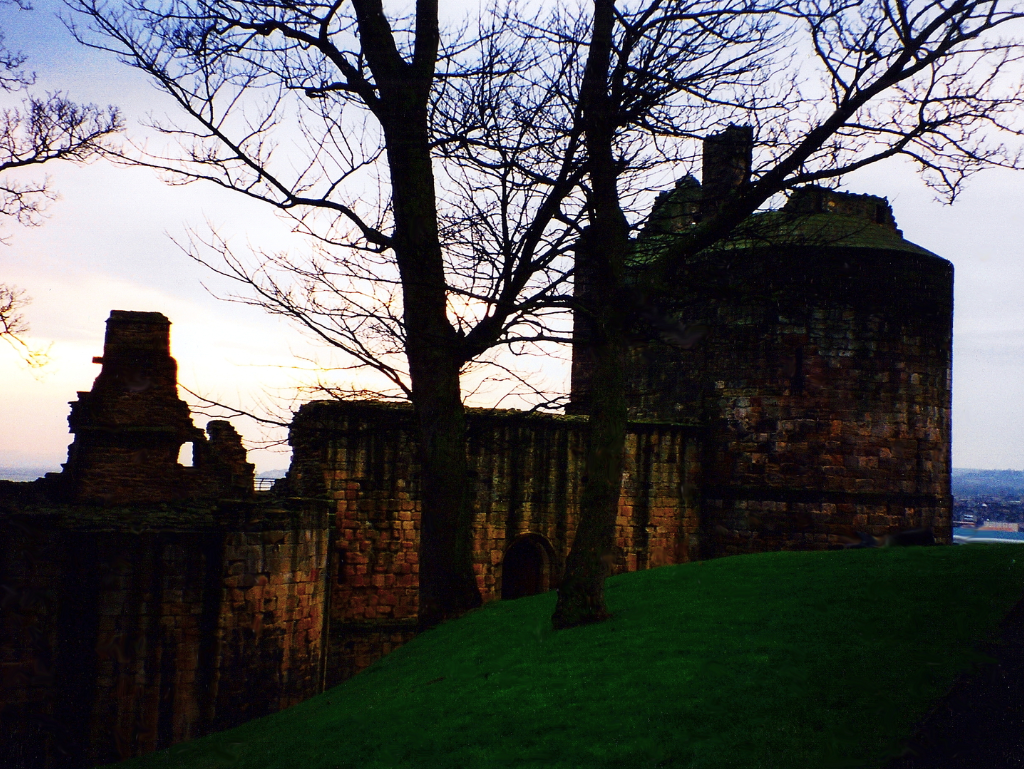 Ravenscraig Castle, a dark and brooding ruinous artillery castle in a public park, associated with James II and then held by the Sinclairs, near Dysart and Kirkcaldy in Fife in central Scotland.