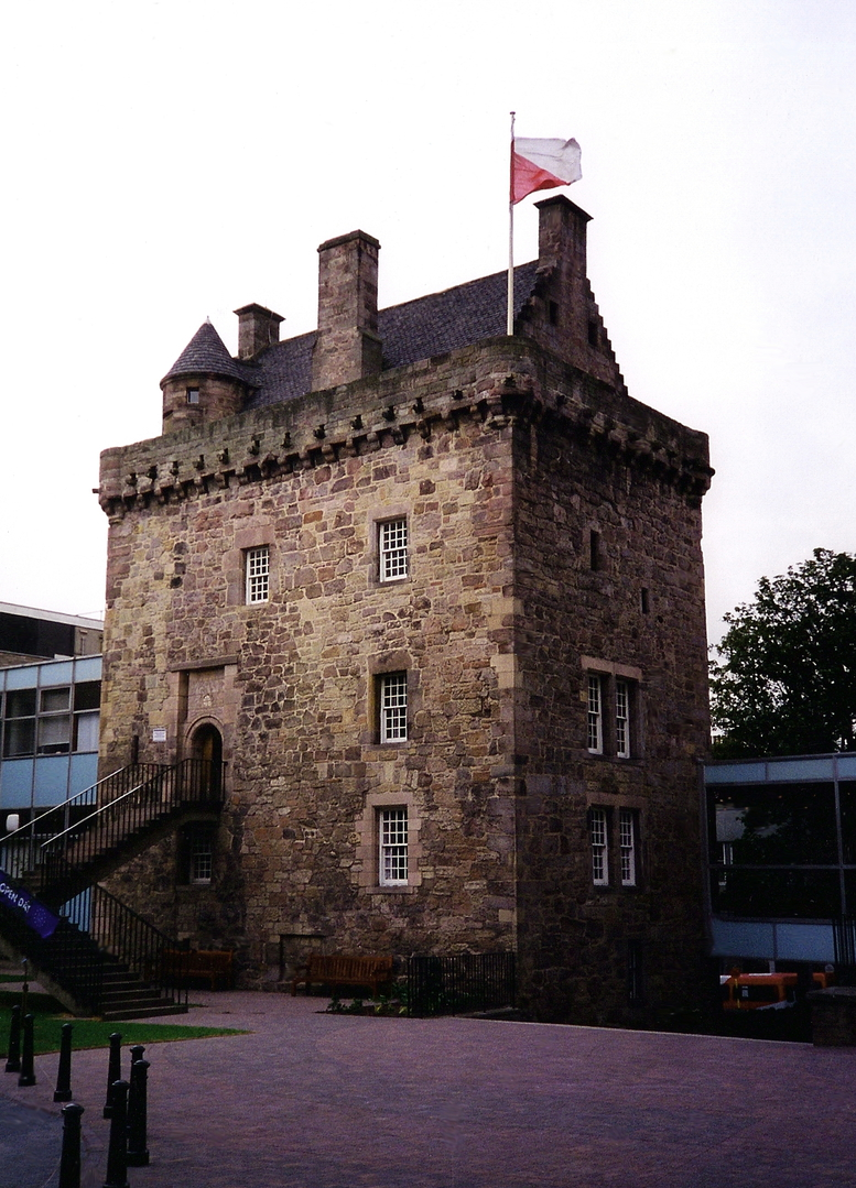 Merchiston Castle, an impressive old tower house, home to the Napiers including John Napier who invented logarithms, and now incorporated into the buildings of Napier University in Edinburgh.