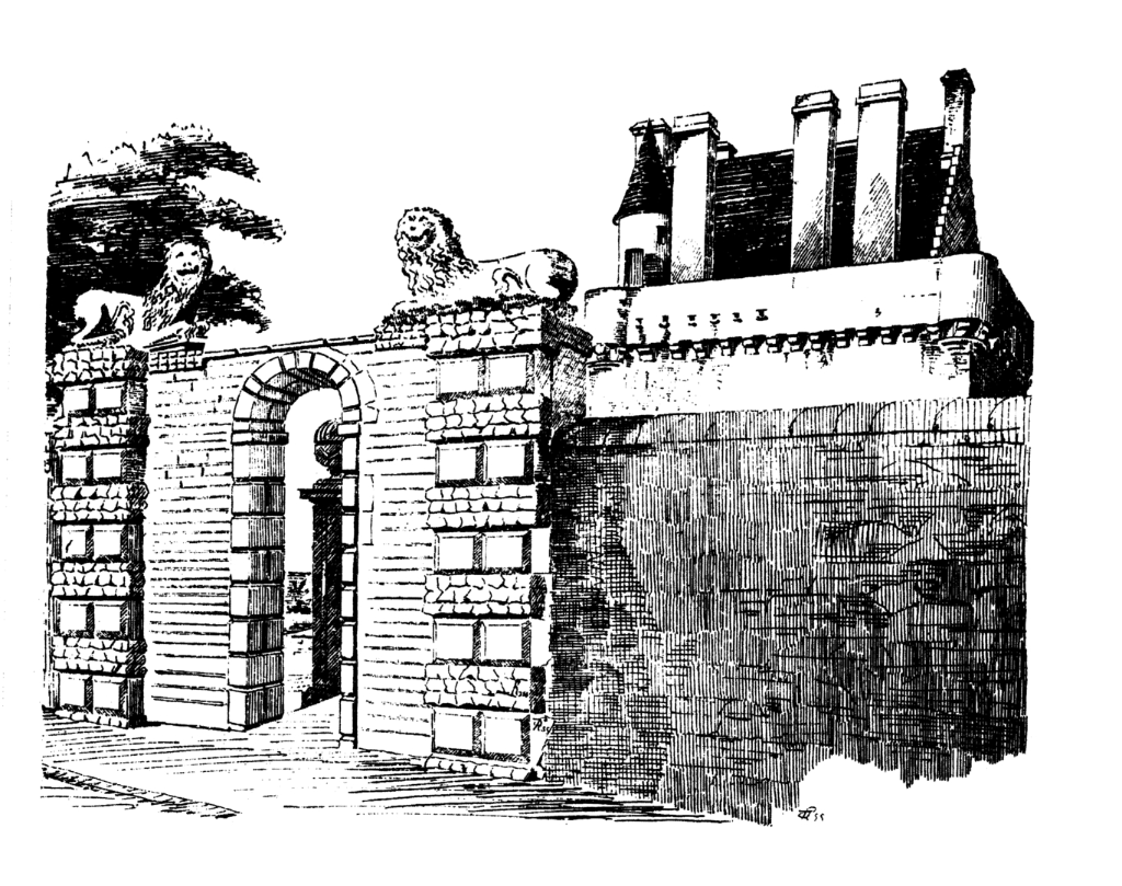 Gates, Merchiston Castle, an impressive old tower house, home to the Napiers including John Napier who invented logarithms, and now incorporated into the buildings of Napier University in Edinburgh.