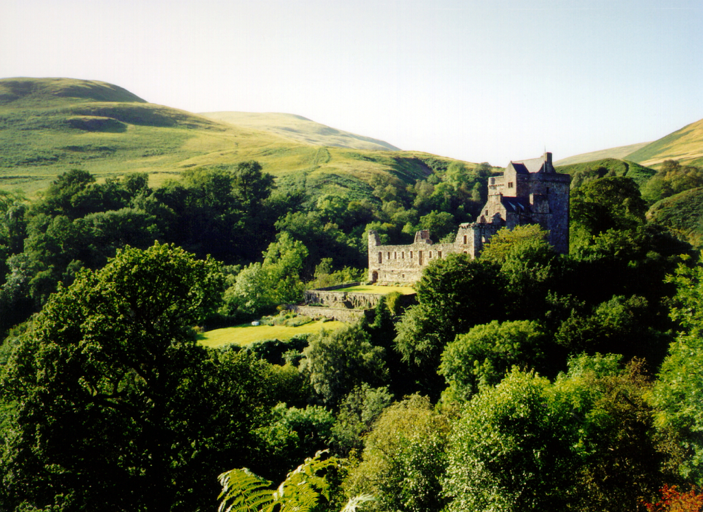 Castle Campbell, a handsome ruinous castle,  with many rooms to explore and superb views and gardens, of the great Campbell clan of Argyll in a lovely location up through the sylvan Dollar Glen.