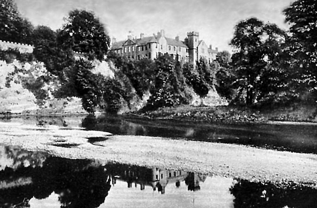 Brechin Castle, a large and impressive mansion in fine gardens and grounds, long a property of the Maules and then the Ramsays of Dalhousie, near Brechin in Angus in northeast Scotland.