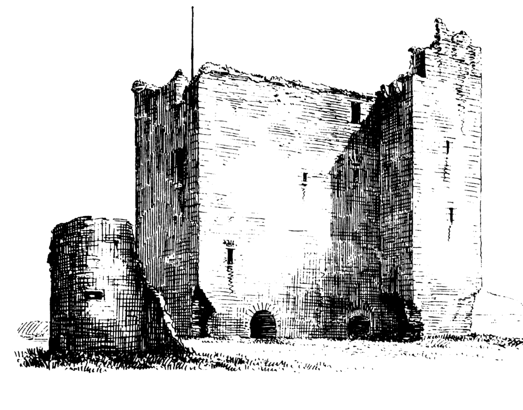 Lordscairnie Castle, a strong but ruinous old tower in a pretty spot, held by the Lindsay Earls of Crawford, and some miles from Cupar in Fife in central Scotland.