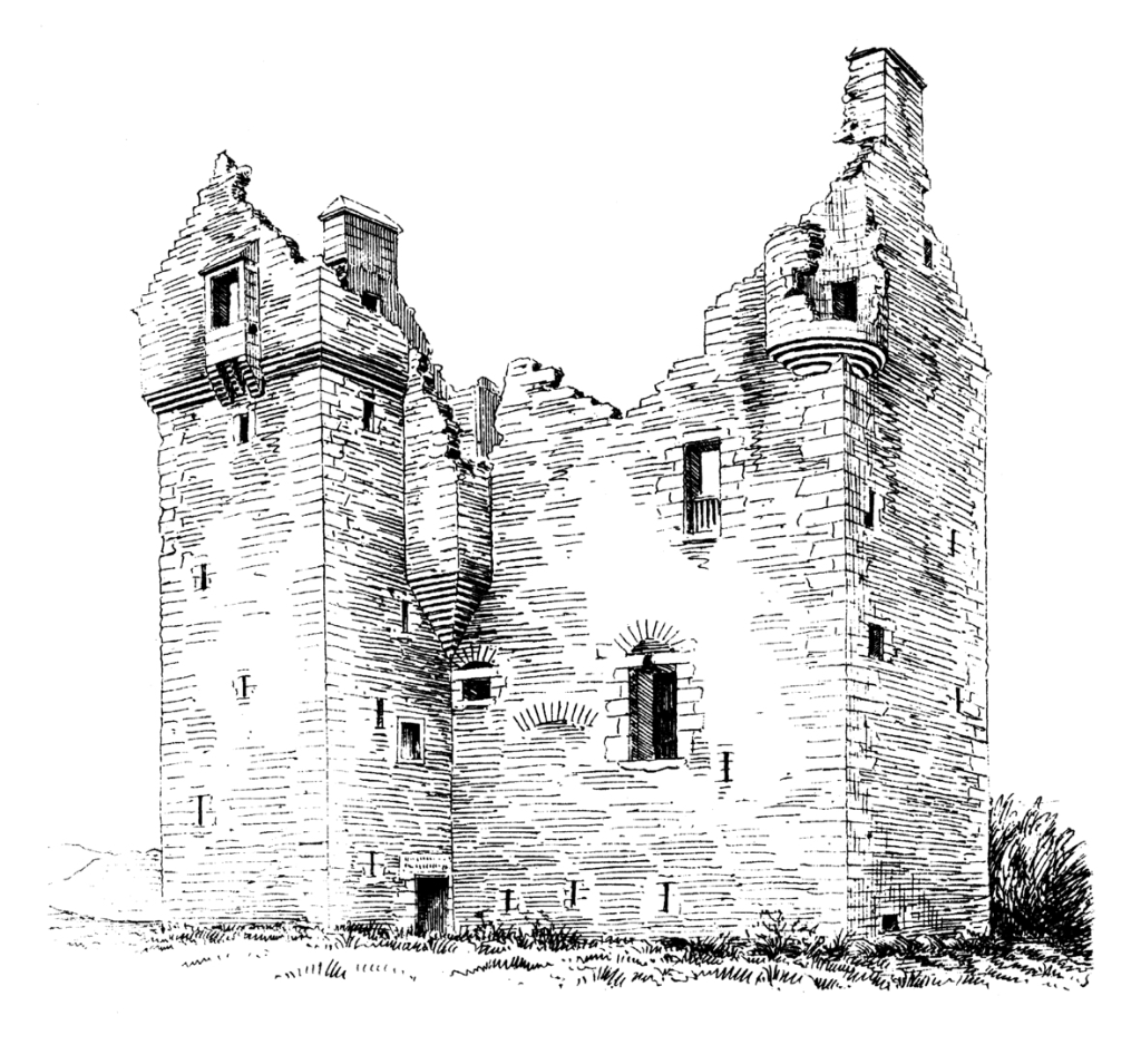 Baltersan Castle, an impressive ruinous old tower house of the Kennedy family, located in a scenic spot near Crossraguel Abbey and Maybole in Ayrshire in southwest Scotland.