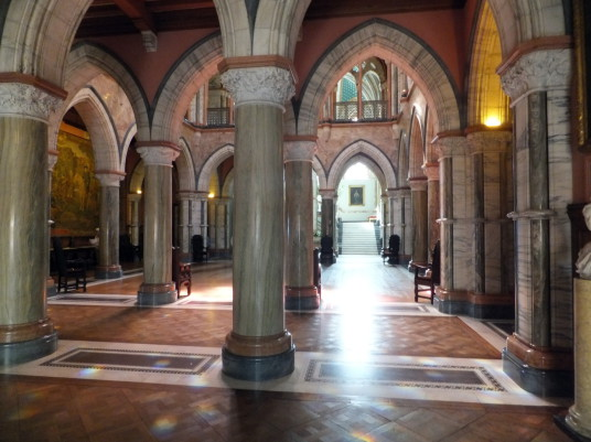 Marble Hall of Mount Stuart House, probably the most sumptuous mansion in Scotland with a spectacular interior including the magnificent Marble Hall and Chapel, built by the Crichton-Stuart Marquess of Bute and in lovely landscaped gardens and grounds by