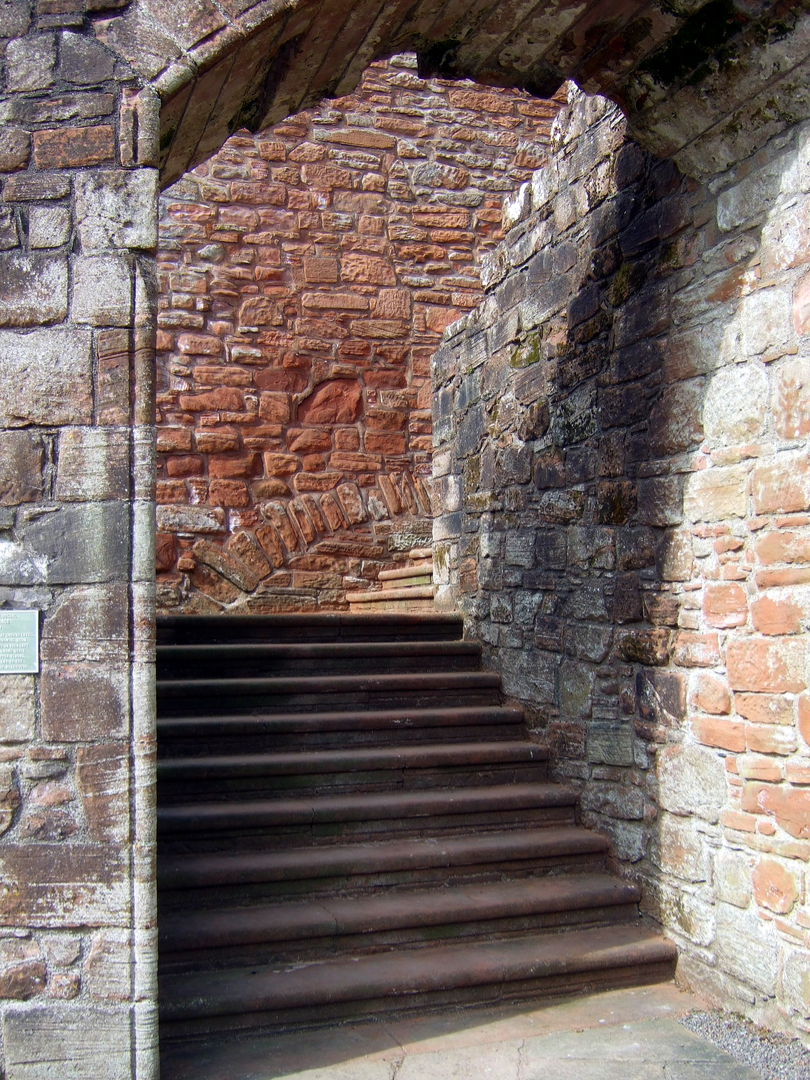Main stair of  Caerlaverock Castle, an impressive and romantic old ruinous castle of the Maxwell family, near Dumfries.
