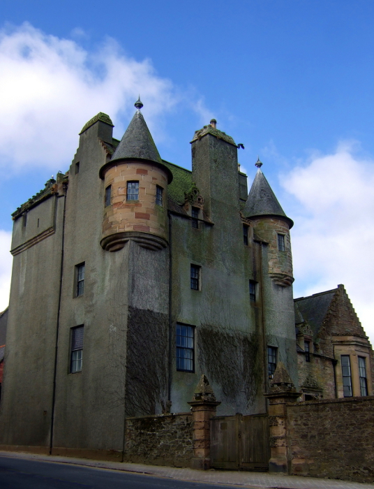 Maybole Castle, a large, impressive and slightly sinister tower house of the Kennedy family of Cassillis, in the interesting Ayrshire burgh of Maybole in southwest Scotland.