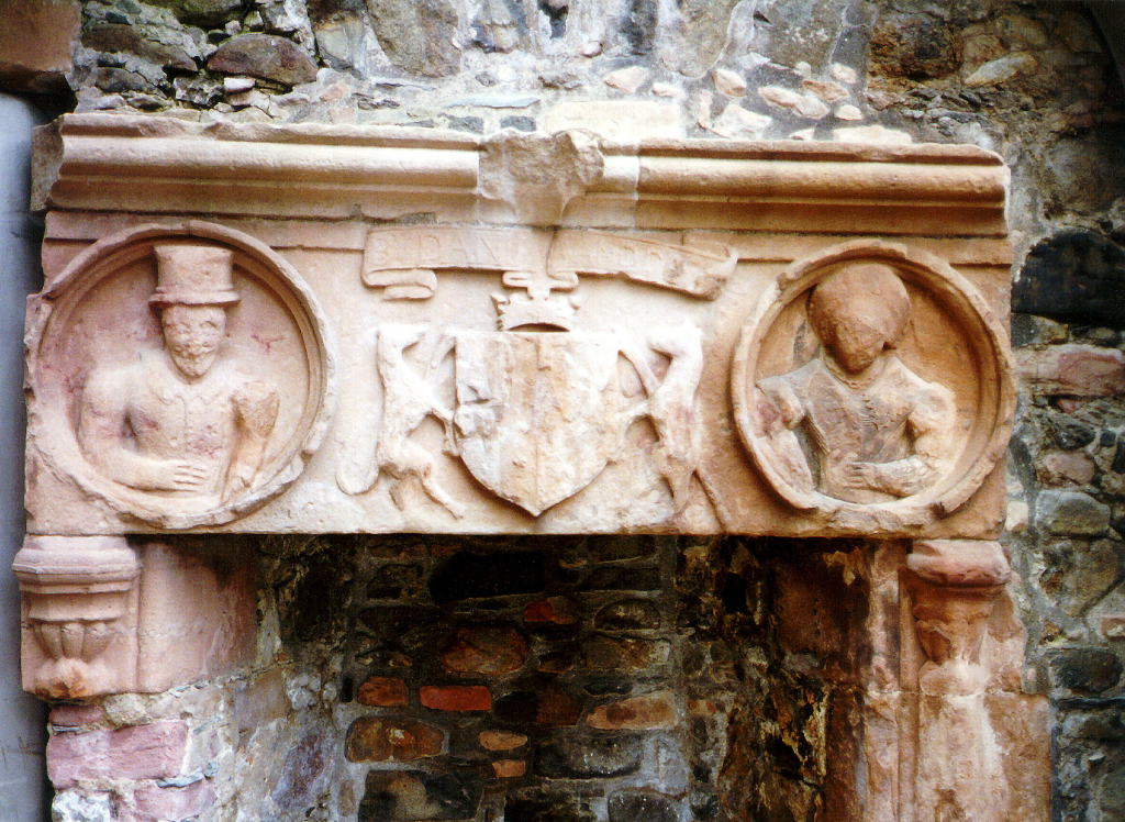 Carved fireplace, Huntly Castle, the ruin of a once magnificent and ornate palace and stronghold with a long and violent history, long held by the powerful Gordons of Huntly, near the Aberdeenshire burgh of Huntly in north-east Scotland.