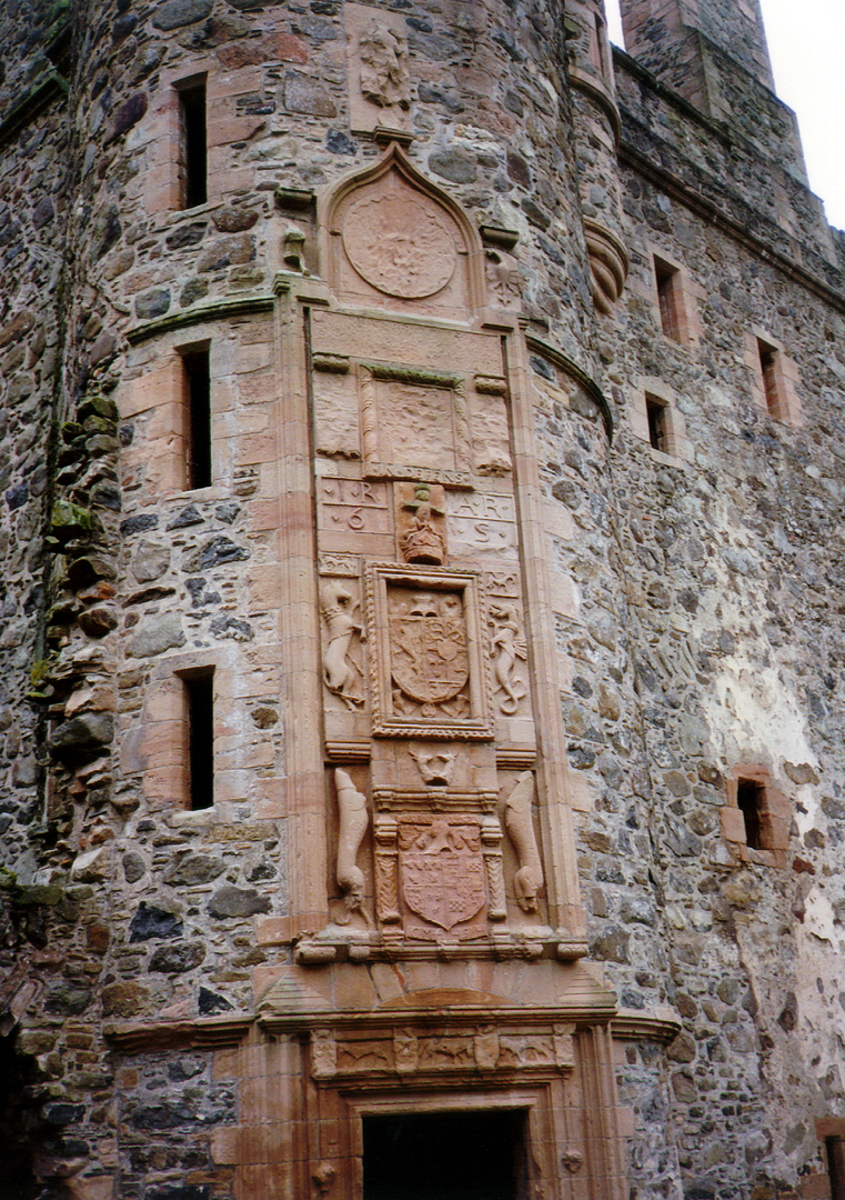 Heraldic panels, Huntly Castle, the ruin of a once magnificent and ornate palace and stronghold with a long and violent history, long held by the powerful Gordons of Huntly, near the Aberdeenshire burgh of Huntly in north-east Scotland.