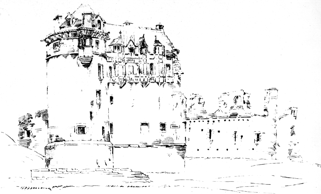 Drawing from 1799 of Huntly Castle, the ruin of a once magnificent and ornate palace and stronghold with a long and violent history, long held by the powerful Gordons of Huntly, near the Aberdeenshire burgh of Huntly in north-east Scotland.