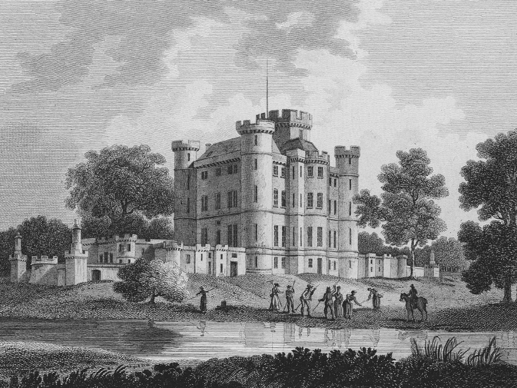 Eglinton Castle, a very ruinous old mansion on the site of a castle, once the splendid seat of the Montgomery Earls of Eglinton, in the public park in Eglinton, near Irvine in Ayrshire in southwest Scotland.