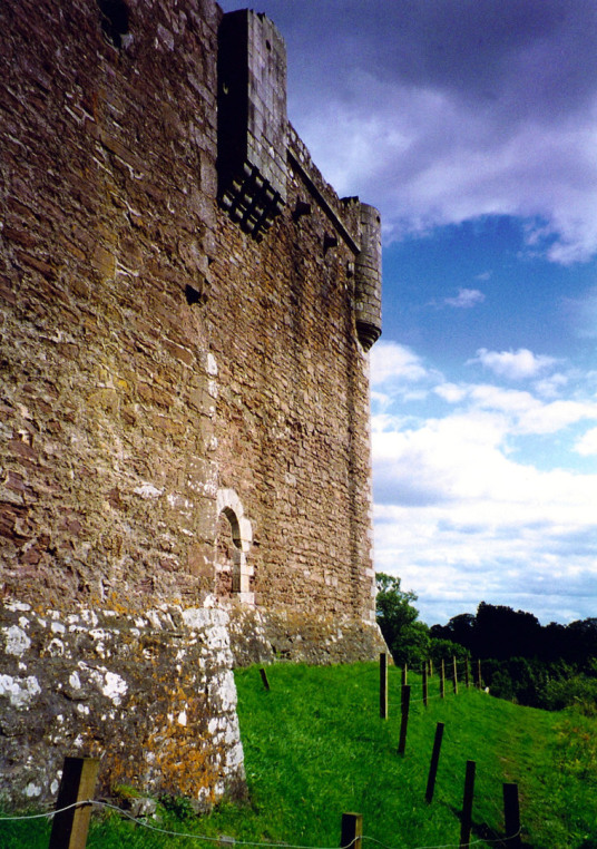 View of Doune Castle, a magnificent medieval castle in a pretty spot by the River Teith, built by Robert Stewart, Duke of Albany, near Doune in Stirlingshire.