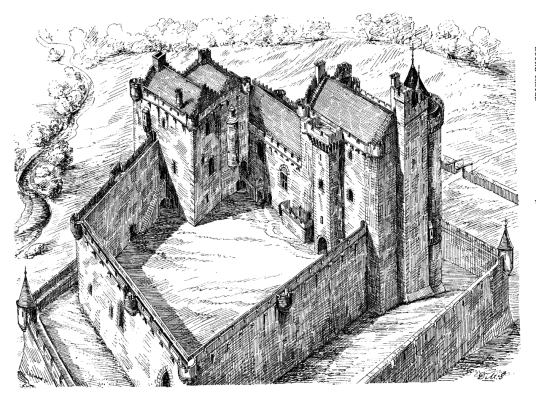 View of reconstruction of Doune Castle, a magnificent medieval castle in a pretty spot by the River Teith, built by Robert Stewart, Duke of Albany, near Doune in Stirlingshire.