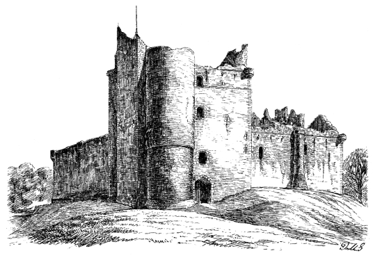 View of Doune Castle before restoration, a magnificent medieval castle in a pretty spot by the River Teith, built by Robert Stewart, Duke of Albany, near Doune in Stirlingshire.