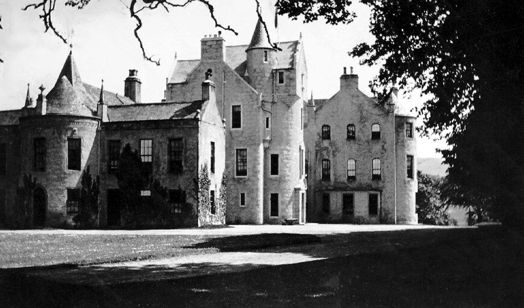 Rothiemay Castle, an old castle and mansion, has been demolished, held by the Gordons, near Huntly in Aberdeenshire in northeast Scotland.