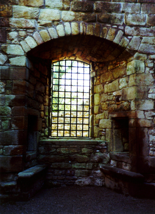 Window in tower, Craignethan Castle, a substantial artillery castle built the influential Hamilton family, now ruinous but with an impressive tower, fortifications and a ditch with a unique caponier, standing in a pleasant wooded location, near Lanark in