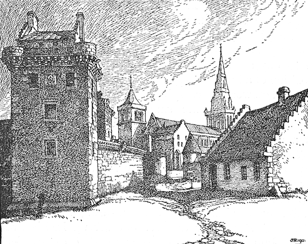 Engraving of Glasgow Castle, once a strong castle, now gone, replaced by Glasgow Infirmary and once close to Glasgow Cathedral in Scotland's largest city.