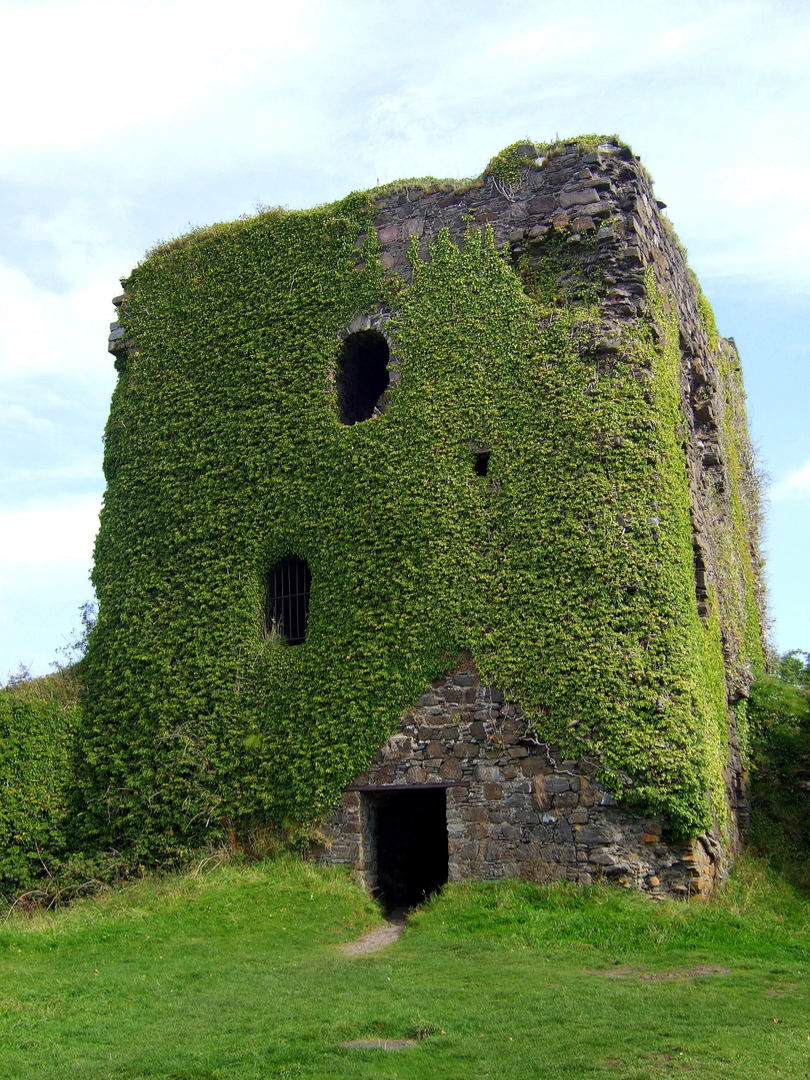 Dunollie Castle, an impressive ruinous tower on a prominent wooded spot above the later Dunollie House, long held by the MacDougalls, now with a museum, and near the seaside town of Oban in Argyll on the west coast of Scotland.