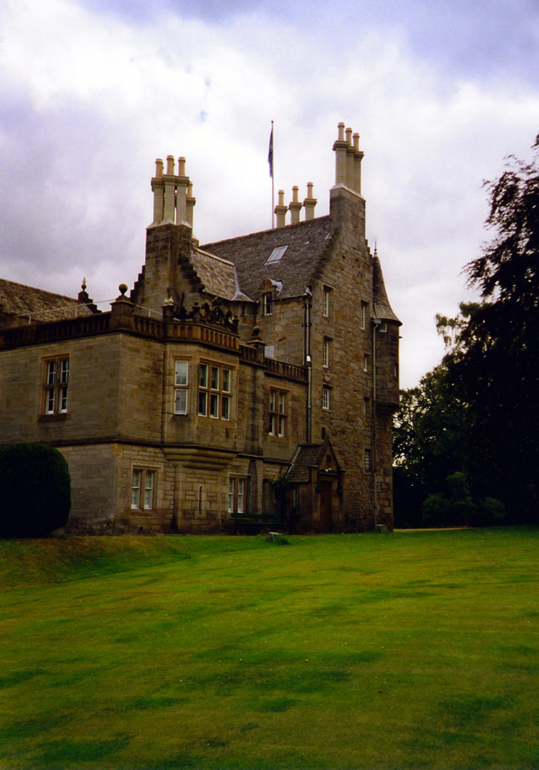 View of Lauriston Castle, an attractive old castle and mansion, held by several families including the Napiers and Reids, in fine grounds and gardens in the Davidsons Mains area of Edinburgh.