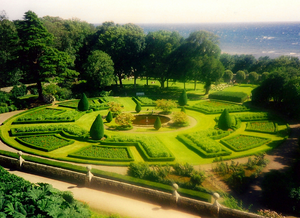 Gardens of Dunrobin Castle, the maginficent, fairytale old stronghold of the Earls and Dukes of Sutherland in beautiful gardens and grounds, by the sea near Golspie in Sutherland in the north of Scotland.
