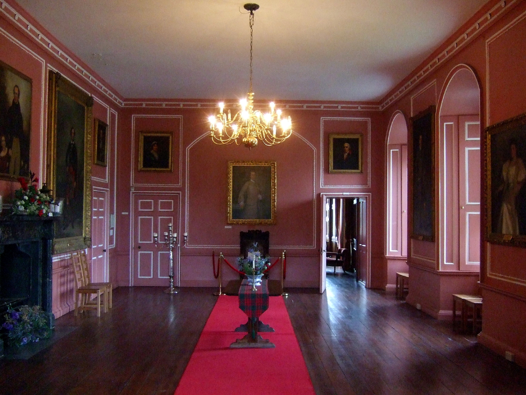 Hall, Castle Menzies, a large and imposing old tower house in a picturesque mountainous location, long held by the Menzies clan and with many period rooms to explore, near Aberfeldy in Perthshire in the Highlands of Scotland.