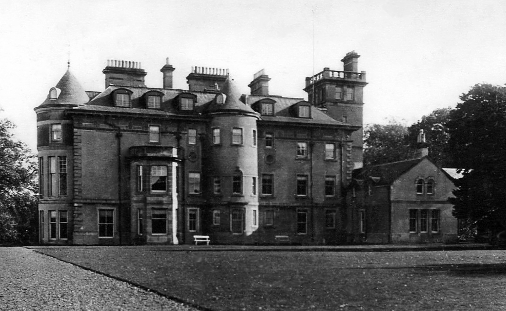 Finlaystone House, a large and impressive mansion incorporating an old castle, long held by the Cunninghams of Kilmaurs, Earls of Glencairn, and now the MacMillans, and set in beautiful gardens and parkland, near Port Glasgow in western Scotland.
