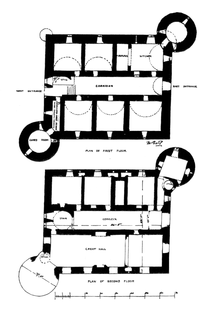 Plans of Drochil Castle, a large and sophisticated but overgrown and ruinous old tower house, built by James Douglas, Earl of Morton as his home although he was soon executed, and standing in woods near Peebles in the Borders in southern Scotland.