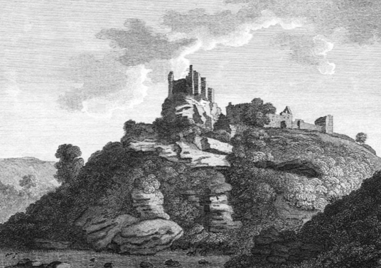 Innerwick Castle, a very ruinous but picturesque old fortress in a pretty wooded spot above a burn in Thornton Glen, held by the Hamiltons and Maxwells and some miles from Dunbar in East Lothian in southeast Scotland.
