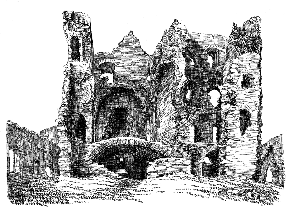 Auchindoun Castle, a large, impressive and conspicuous ruin in a prominent spot near Dufftown in Moray in northern Scotland, held by the Ogilvie and the Gordon families.