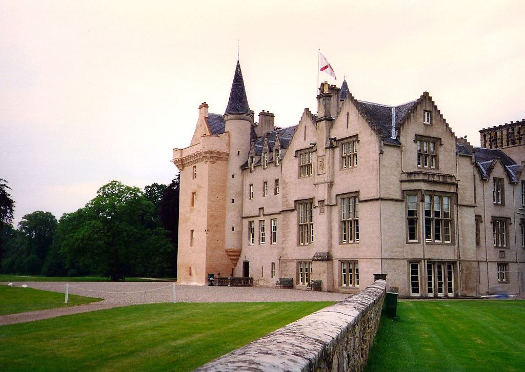 Brodie Castle, a large and imposing medieval stronghold and later mansion, long held by the Brodie family and set in expansive gardens and grounds some miles from Forres in the Highlands in northern Scotland.