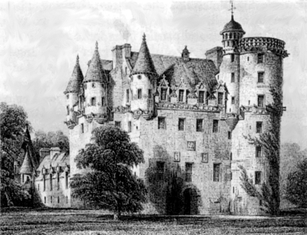 Castle Fraser, a large and magnificent old stronghold, long held by the Frasers, set in gardens and expansive landscaped grounds near Kemnay and Inverurie in Aberdeenshire in northeast Scotland.